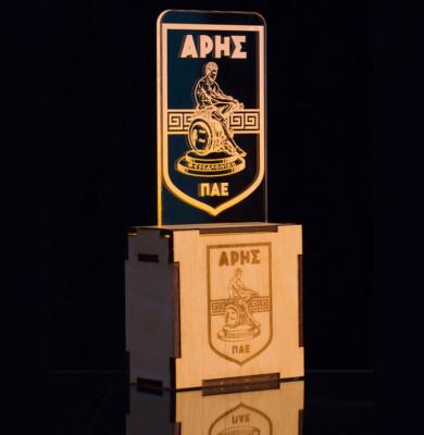 Minimal Led Lamp Ξύλο 10cm x 10cm, Plexiglass 15cm x 8 cm